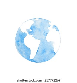 Watercolor paintings of blue earth.