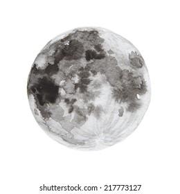 Watercolor paintings of moon.