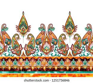 Watercolor paisley floral seamless horizontal border, hand drawn vintage ornate ethnic pattern