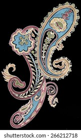 watercolor paisley on black background