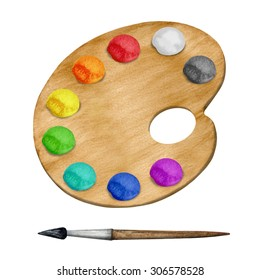 Watercolor palette, paints, paint brush isolated on white background set. Hand painting on paper