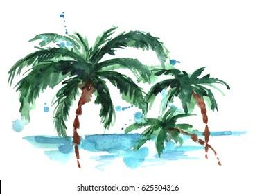 Aquarel palm strand.