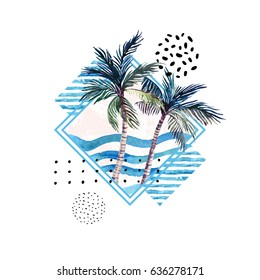 Watercolor palm tree print in geometric shape with memphis elements isolated on white background. Hand painted summer illustration for t-shirt design etc.