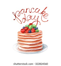 Watercolor pancake day card. It can be used for card, postcard, cover, invitation, poster, sticker, menu
