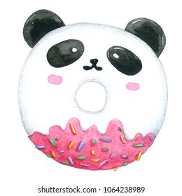 Watercolor Panda Donuts on white background with clipping-path for decorative and design, pattern , packaging