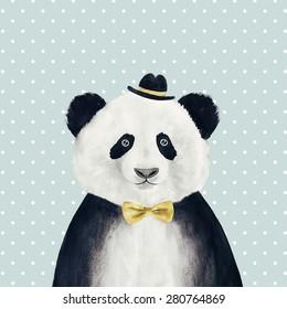 Watercolor panda in hat drawing. Hipster animal.