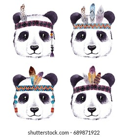 Watercolor panda portrait with boho feathers .Bohemian cute animal. Hand drawn illustration isolated on white background. Perfect for nursery prints, stickers, greeting cards and other DIY