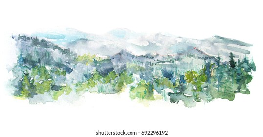 Watercolor panorama of the mountains and the forest. Watercolor tree landscape