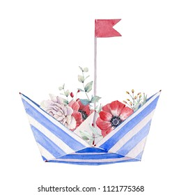 Watercolor Paper boat with flowers. Floral decoration bohemian design. 