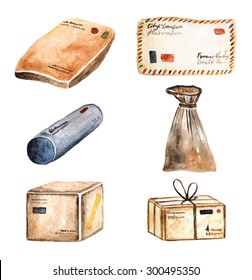 Watercolor parcels collection, icon, banner including box. letter, bag, tube