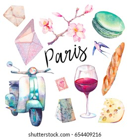Watercolor Paris set. Hand drawn elements of french culture isolated on white background: vintage scooter, macaron, cheese, red wine glass, magnolia brach, baguette.