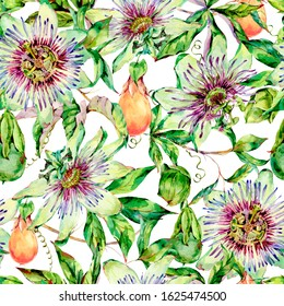 Watercolor Passiflora seamless pattern, flowers, leaves. Vintage floral natural texture. Hand drawn wallpaper on white background