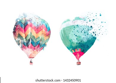 Watercolor pastel picture of colorfull balloons in the sky.