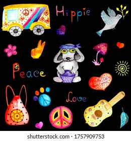 watercolor pattern with animals and hippie style elements on black background peace car guitar dog