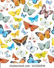 watercolor  pattern with beautiful butterflies. flying butterfly