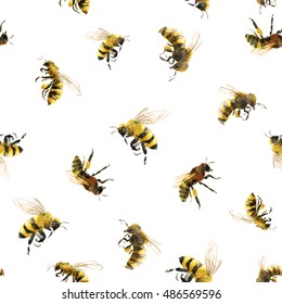 watercolor pattern with bees, white background