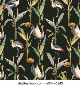 Watercolor pattern with birds. African Crowned Crane. White Crane. stork and gray heron. wallpaper with birds. Tropical pattern with coconut palm, banana palm. Retro colors
