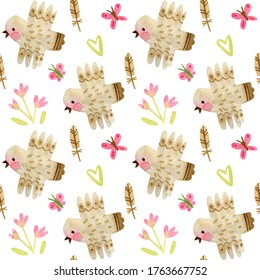 Watercolor pattern with birds and flowers. Cute background for children. Seamless pattern with stylized birds.