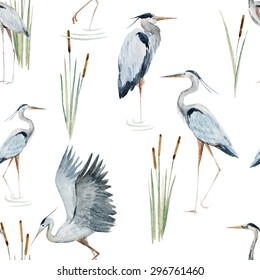 watercolor pattern with birds heron in the water, reeds, gray heron