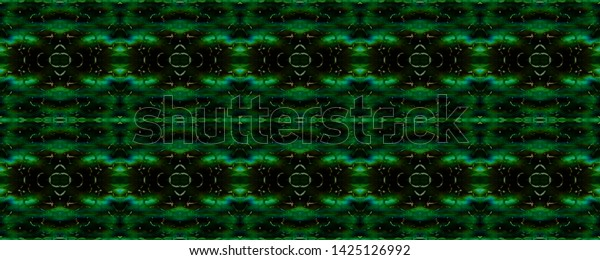 Watercolor Pattern Black Green White Wildlife Stock