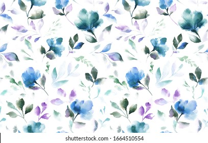 Watercolor Pattern Blue Flowers White Background