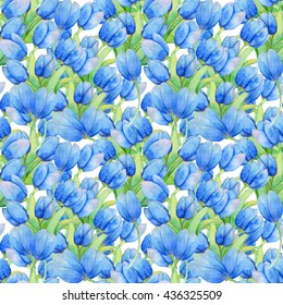 Watercolor pattern with blue tulips.