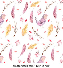 Watercolor pattern. Boho style. Illustration of feathers, petals, twigs, berries and stylized violet birdies. Seamless digital texture for prints and textiles.