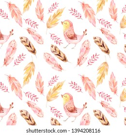 Watercolor pattern. Boho style. Illustration of feathers, petals, twigs, and stylized yellow birdies. Seamless digital texture for prints and textiles.