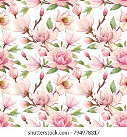 Watercolor pattern  of a branch with flowers pink Magnolia flower spring card. white  background