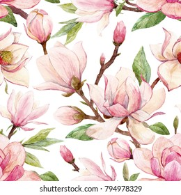 Watercolor pattern  of a branch with flowers pink Magnolia flower spring card.