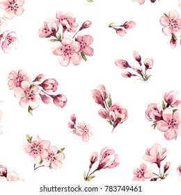 Watercolor pattern  branches with Sakura flowers, cherry blossoms. Women's Day