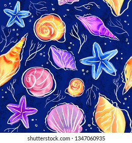 Watercolor pattern with bright and mysterious inhabitants of the seabed on a dark blue background.