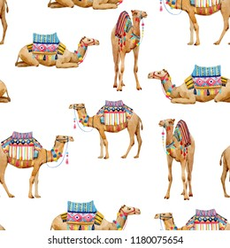 Watercolor pattern with a camel, camel with decoration, Arabic print