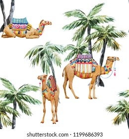 Watercolor pattern, camel with palm trees, tropical animal pattern