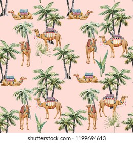 Watercolor pattern, camel with  palm trees, tropical pattern with animals. pink background