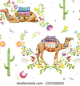 Watercolor pattern, camel with saddle and ornament, decorative floral ornament. cacti and flowers