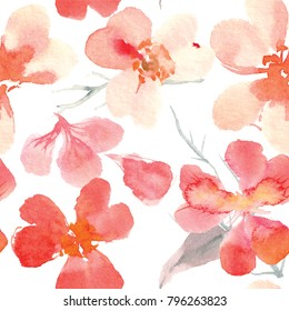 watercolor pattern of cherry blossoms
