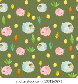 watercolor pattern with chicken, leaves, sprigs, sheep, pigs