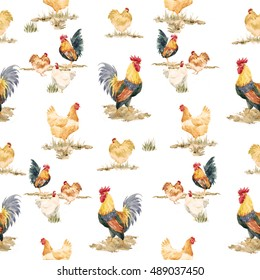 Watercolor pattern chickens and a rooster, rustic retro wallpaper, Rooster symbol of the new year