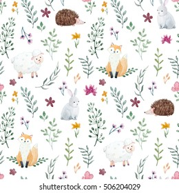 Watercolor pattern for children, children's wallpaper with animals, forest dwellers