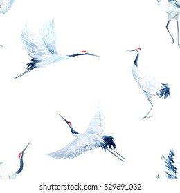 watercolor pattern crane. Egret.