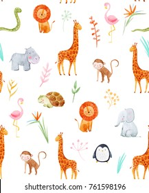 Watercolor pattern with cute animals, pattern, baby Wallpapers. African Wallpaper, giraffe, Hippo, elephant, lion, monkey, tropical leaves and flowers