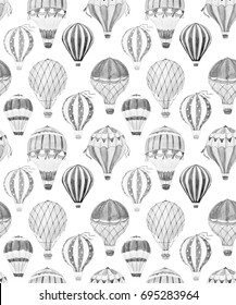Watercolor pattern cute balloon, balloon with basket.  aerostat . Monochrome print