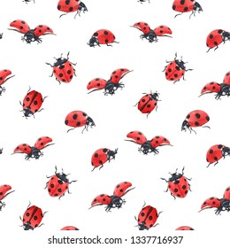Watercolor pattern cute red bugs, ladybug