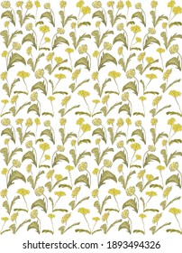 Watercolor pattern with dandelions perfect for textile fabrics.