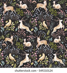 Watercolor pattern deer and flowers. rabbit sitting in the grass. bird on a branch. gentle forest   dark background