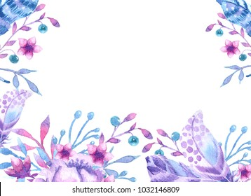 Watercolor pattern with feathers and flowers. Preparation for invitations, postcards, website, poster, banner. Purple, light blue, pink