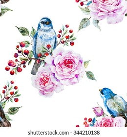 watercolor pattern with flowers and birds, flowers, rose, red berries, white background