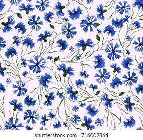 Watercolor pattern of flowers elegant cornflowers on soft pink background