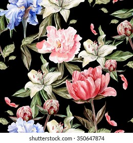 Watercolor pattern with flowers  iris, peonies and lilies, buds and petals. Illustration